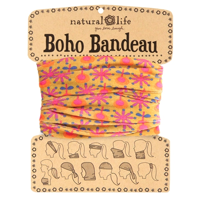 Gold with Pink Flowers Boho Bandeau | Natural Life The Maples' Tree