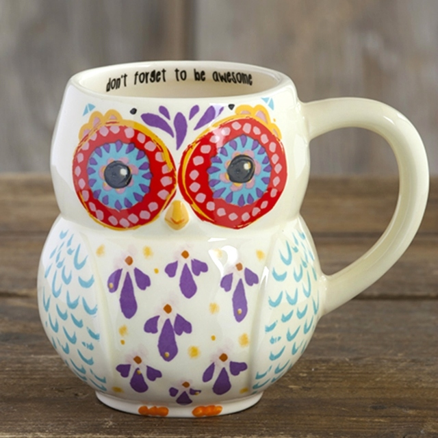 Don't Forget to Be Awesome - Folk Art Owl Mug The Maples' Tree